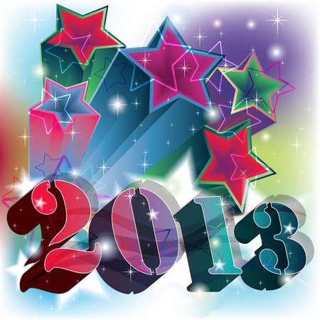 2013 esplosione in uno sfondo stellato colorato e potente Vettoriali