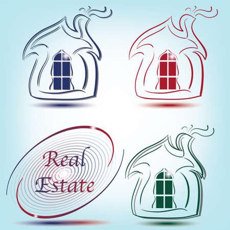simbolo astratto con casa in blu, rosso, verde Vettoriali