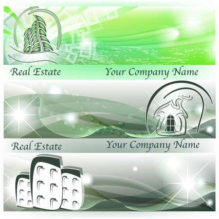 businesslike: Banderas con las casas abstractas y rascacielos en el color verde