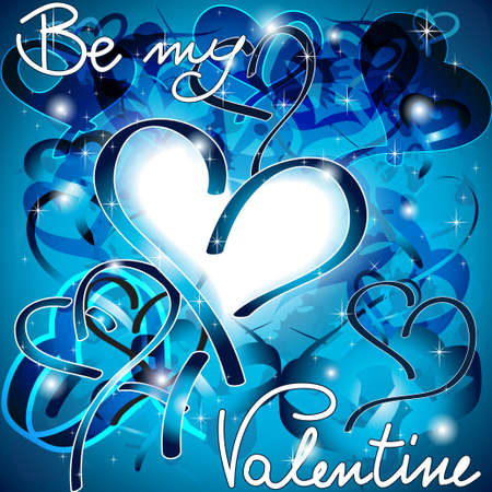 Blue Valentine tribale cuori moderni con lo spazio del testo Vettoriali