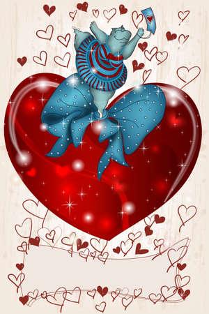 Felice di ballare Ippona San Valentino con il cuore e nastro