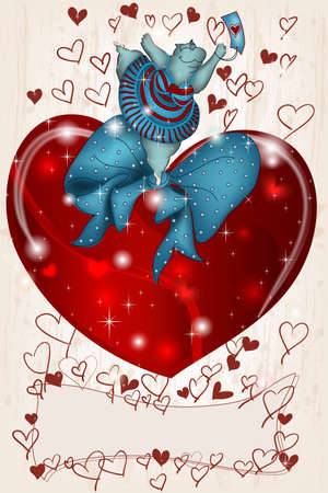 Happy dancing Hippo Valentine with heart and ribbon