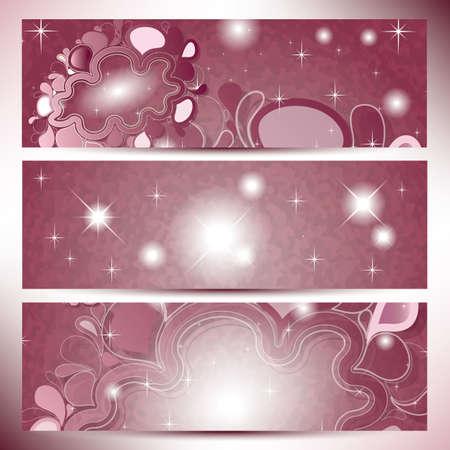 Bandiere d'epoca con nuvole astratte in rosa tonalità di colore Vettoriali