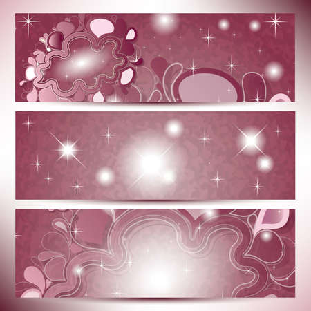 Vintage Banners with abstract clouds in pink shades color Illustration