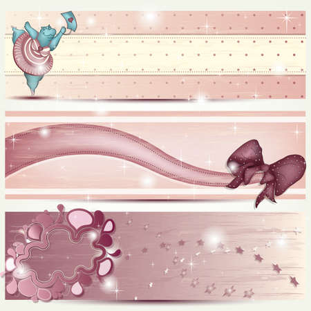 Banner with Dancing Hippo, Ribbon and abstract Cloud in pink Vector