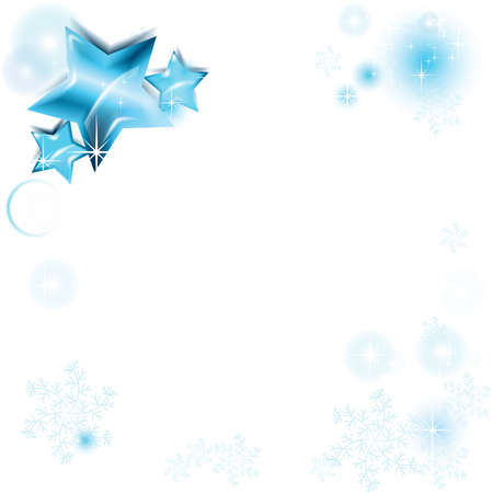 Telaio con brillanti stelle blu e fiocchi di neve Vettoriali