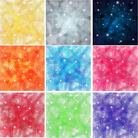 9 Shining Abstract Background with stars Illustration