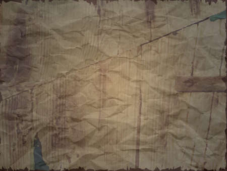 Creased paper with wood effect in dark shade, torn edges