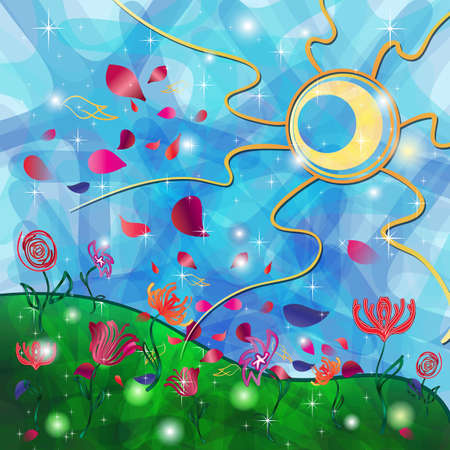 Fantasy background with Tribal Sun, petals and Flowers Vector