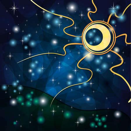 Fantasia sfondo con il Sole tribale e il campo di notte