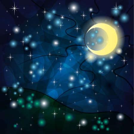 Fantasia sfondo con luna tribale e il campo di notte Vettoriali