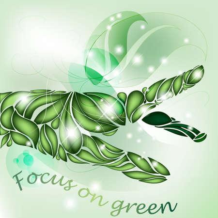 Fatto a mano di foglie focus sul verde Vettoriali