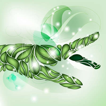 Leaf Hand focus on green without text Illustration