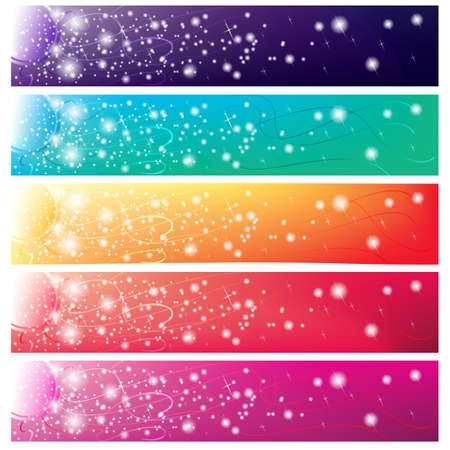 5 colorful banners with shining sun for web Illustration