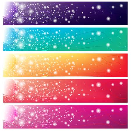 5 striscioni colorati con sole splendente per il web