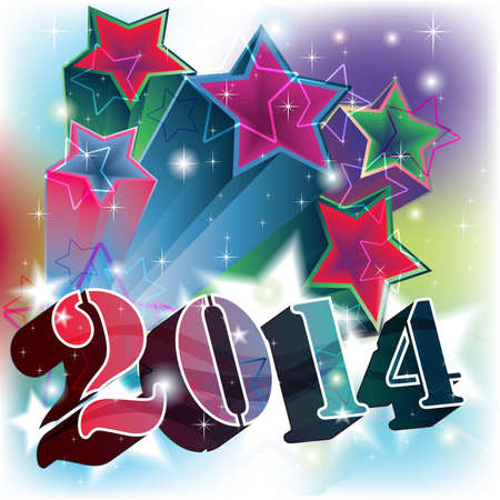 Colored Stars Blast with 2014 year date Illustration