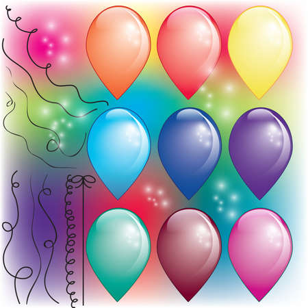 Set di aria colorata palloncini con fili e glitter