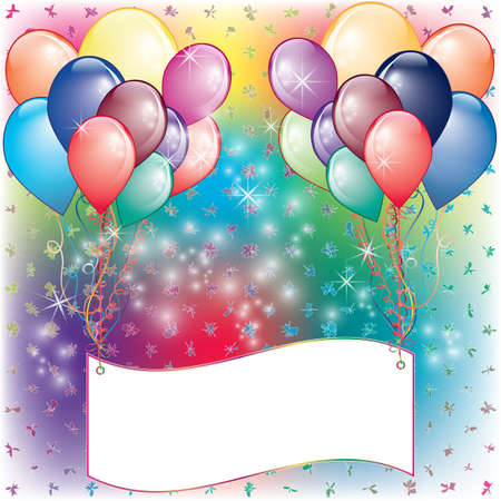 Palloncini carta dell'invito del partito con lo spazio bianco