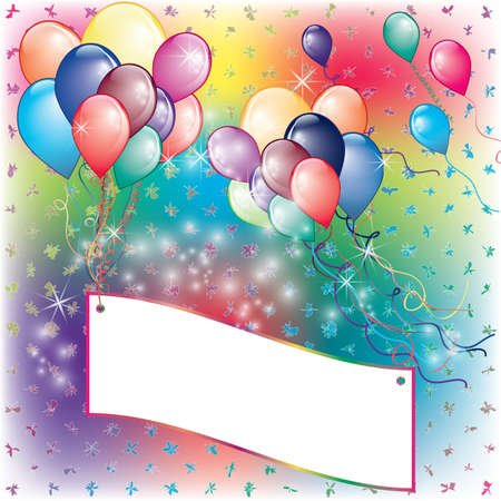 Balloons Party Invitation card with falling board and flown away balloons Illustration