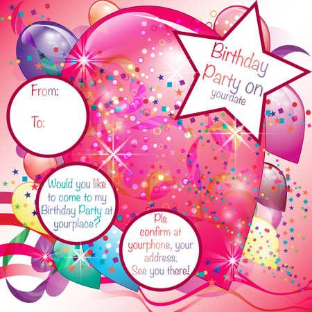 Colorful Balloons Invito Partito per la ragazza Vettoriali