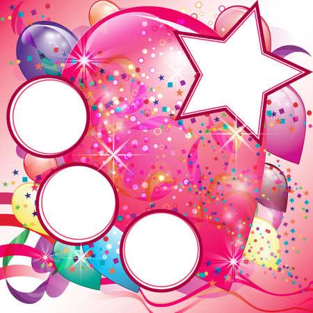 Colorful Balloons Invito Partito per la ragazza con lo spazio bianco