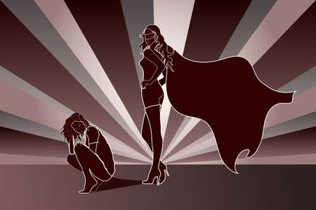 Sad crouched woman with Superhero