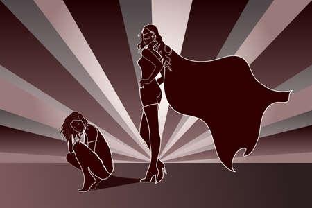 Triste donna accovacciata con Superhero