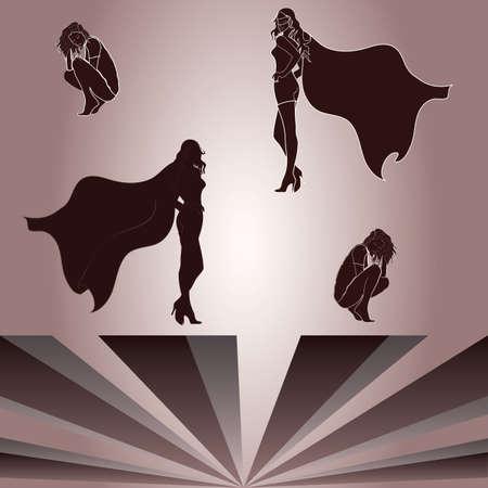 Elementi separati per donna accovacciata e supereroina Archivio Fotografico - 22138745