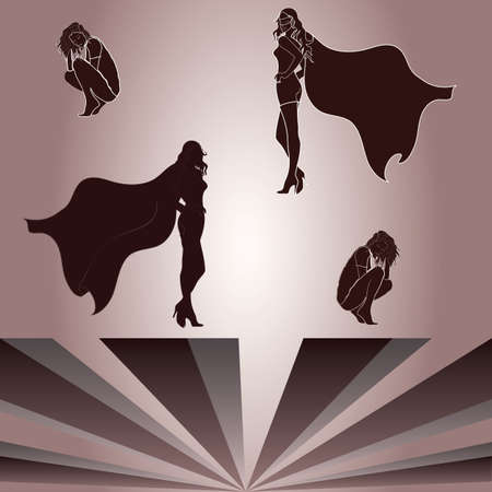 superheroine: Separate Elements for crouched woman and superheroine Illustration
