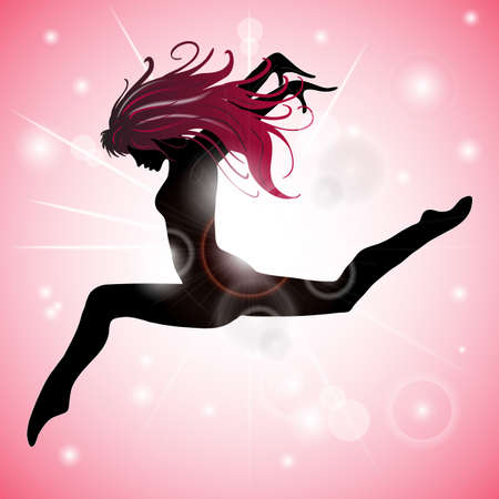 Silhouette of Jumping Girl with Pink reflections Illustration