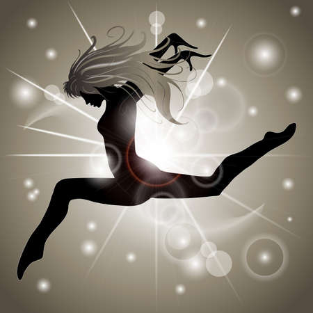 Silhouette of Jumping Girl with Gold reflections