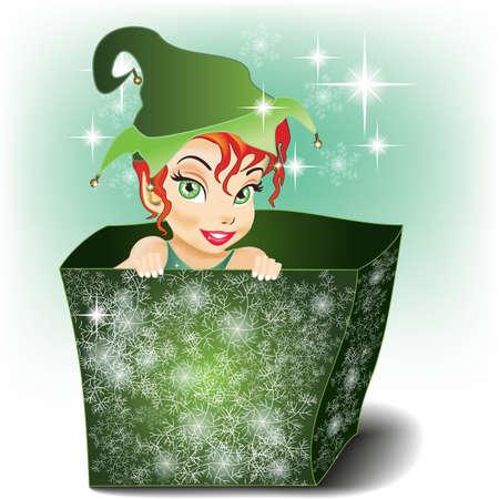 Sorridente e carino Elf in un pacco Vettoriali