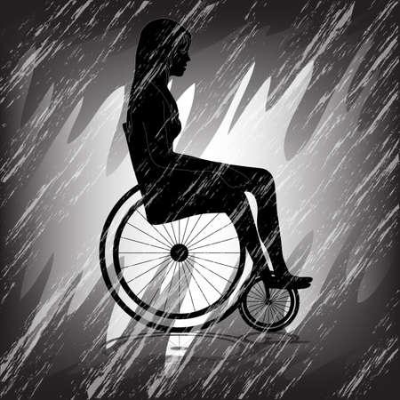 Triste donna in sedia a rotelle