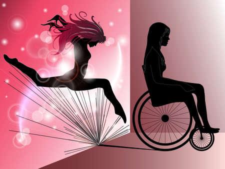 Triste donna in sedia a rotelle con salto ragazza come un'ombra Vettoriali