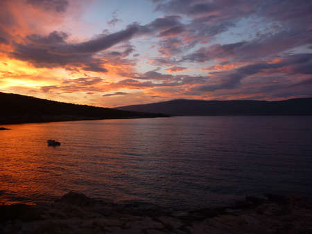 Hvar bay at sunset with amazing colors Stock Photo