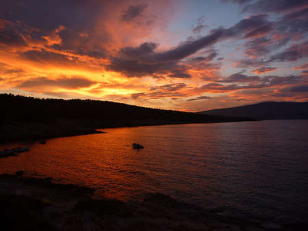 Amazing sunset at Hvar island