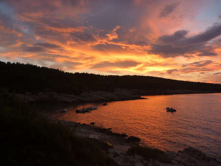 Hvar bay at sunset with amazing colours Stock Photo