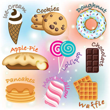 Funny cartoon American and British sweets for children