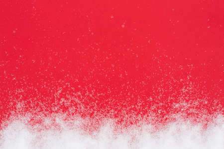 Abstract Texture Background Red Paper With Original White Fluffy Snow For Design Top View.