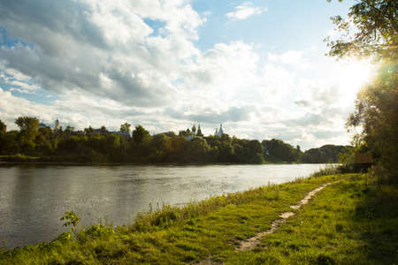Beautiful Summer Sunny Landscape: Assumption Cathedral By River Moscow In Kolomna, Moscow Region.