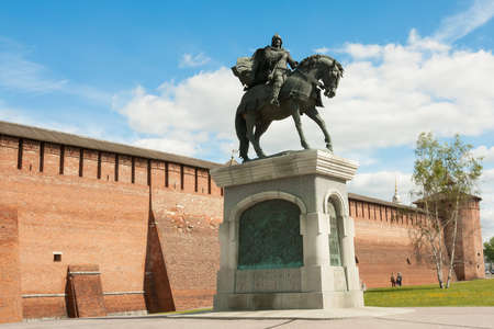 Kolomna, Russia - May 22, 2017: Monument To Dmitry Donskoy Near Marinkina Tower Of Kremlin In Sunny Spring Day In Kolomna, Moscow Region.