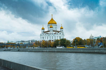 Cathedral Of Christ Savior, View From Moscow River At Autumn Day. Famous Christian Landmark In Russia. Moscow, Russia.