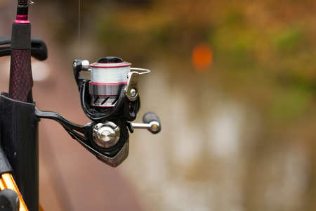 Fishing Rod On Fishing Outdoor Background Blur Autumn. Close Up And Copyspace. Stock fotó