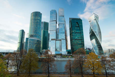Moscow City. Beautiful Modern Architectural Buildings Of Business Center Of Moscow City Complex Of Skyscrapers Autumn.