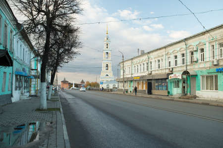 Kolomna, Russia - October 21, 2017: Historical Part Of City Of Kolomna On Street October Revolution (Former Merchant) At Autumn.