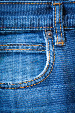 Jeans  Denim. Blue Jeans Fabric With Pocket And Seams For Design Close Up. Reklamní fotografie