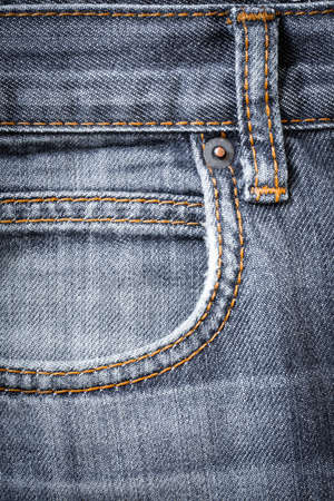 Jeans Fabric With Pocket And Seams Color Gray For Design Close Up.
