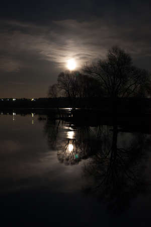 Beautiful Night Nature Landscape. Tree With Branches By Reflecting River Under Bright Dramatic Sky With Shining Moon In Night Time Spring.