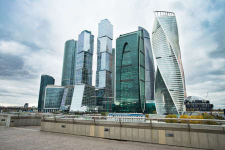 Moscow, Russia. Moscow City. Modern Architectural Buildings Of Business Center Of Moscow City Complex Of Skyscrapers On Dramatic Sky At Autumn. Stock fotó