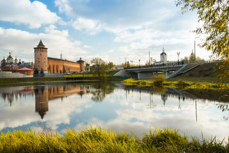 Kolomna, Moscow Region. Beautiful General View Of Sights: Assumption Brusensky Female Monastery, Marinkin Tower Of Kremlin And Church Of Michael Archangel By River Kolomenka In Autumn Sunny Day. 版權商用圖片